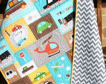 Vroom Baby Boy Quilt, Toddler Blanket, Vehicles Trucks Cars Airplanes Helicopters, Brown Orange Yellow Bright, Crib Nursery