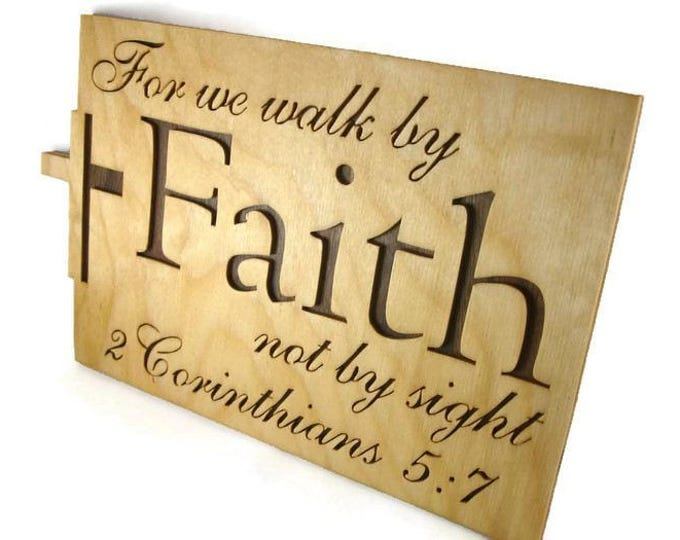 2 Corinthians 5:7 Faith Bible Passage Wall Hanging Plaque Handmade By KevsKrafts