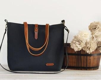 LARGE, Dark navy tote / diaper bag / shoulder bag with detachable shoulder strap. 9 inside pockets. Waterproof lining available