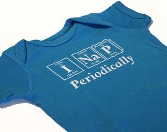 Periodically Inspired I NAP PERIODICALLY Periodic Table Baby Bodysuit For Periodic Table Fans (Cobalt Blue)