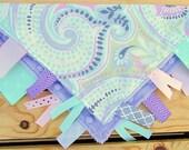 SALE* Lilac Paisley Ribbon Sensory/Tag Blanket