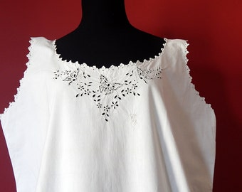 French Vintage Chemise Nightgown Fine Cotton with Exceptional Embroidery Larger Size