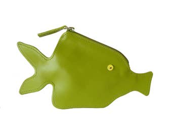 Furla Spring Geen Leather Fish Novelty Coin Change Purse Pouch