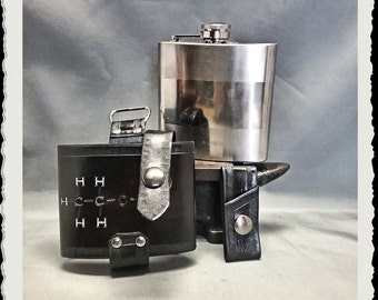 Leather Flask Holster - Alcohol Molecule -