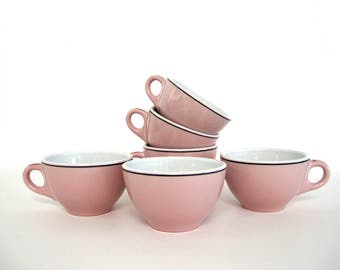 Set of Restaurant Ware Coffee Mugs Diner China Cups Ceramic Tea Cup Restaurantware Pink Black Stripe Restaurant Decor Sterling