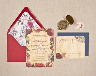 Real Wood Wedding Invitations - Garden Lux