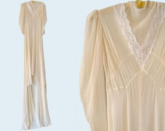 1910s Cream Silk Wedding Dress size XS