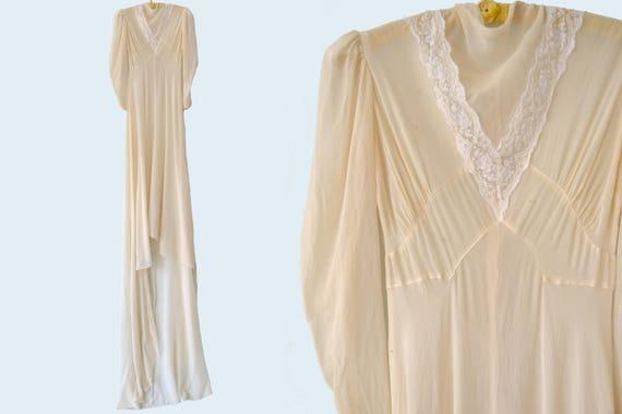 1910s Cream Silk Wedding Dress size XS