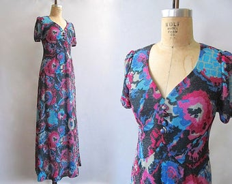 SPARKLE PLENTY Vintage 70s Dress | 1970s Floral Lurex Maxi Dress | Gypsy, Boho, Hippie, Disco, Cocktail, Evening, Psychedelic | Size Medium