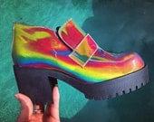 90s Buffalo Hologram Rainbow Chunky Deadstock Platform Chunky Loafers with Tread // size 5 - 10
