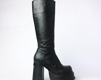 90's Buffalo Leather Platform Knee Boots // 6 US // 4 UK // 36 EURO