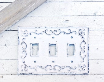 Metal Wall Decor, Light Switch Cover,Triple Light Switch Plate,Shabby White, Victorian Home , Cast Iron Wall Fixture Or Color of your Choice