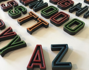 Vintage 3-D Alphabet Letters Two Sided Standing Sold as Set Black with Outlined Color / Letter Blocks