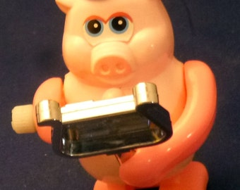 Vintage Tomy Wind Up Toy Pig Playing Xylophone (Non-working/Display), 1970s