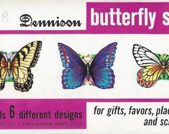 Vintage Dennison Butterfly Seals, C1970s