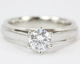 0.83ct Platinum Solitaire Engagement Ring, Tiff. Setting Engagement Ring, Six Prong Engagement Ring, Round Diamond Engagement Ring