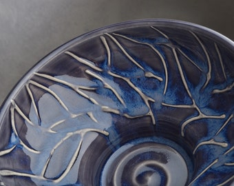 Shaving Bowl Ready To Ship Dark Blue Random Lines Lather Shave Bowl by Symmetrical Pottery
