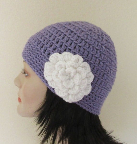 Crochet Beanie Women Beanie Crochet Beanie Purple Beanie with Attached White Flower Womens Purple Beanie