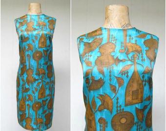 Vintage 1960s Dress / 60s Rayon Musical Instrument Novelty Print Sheath / Medium