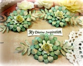 Light Mint and Ivory Paper Flowers and Paper Embellishments for Scrapbook Layouts Cards Tags Mini Albums Altered Art and Paper Crafts