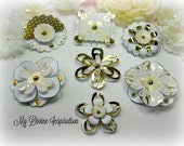 White and Gold Paper Embellishments and Paper Flowers for Scrapbooking Mini Albums Cards Tags and Papercrafts