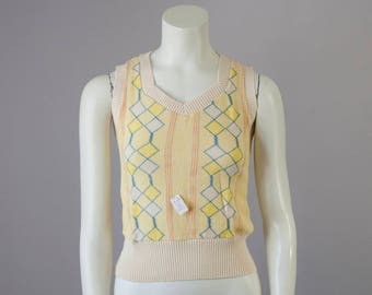 80s Vintage Deadstock Cotton Knit Vest (XS, S)
