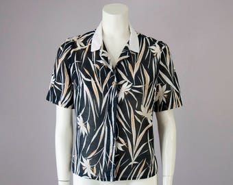 70s Vintage Black Jungle Print Puff Sleeve Boxy Crop Blouse (L)