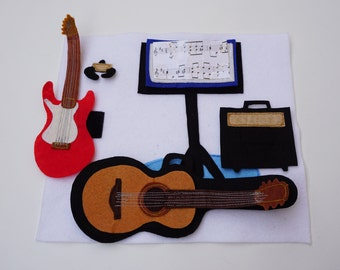 Guitars- Quiet Book Page / Custom Quiet Book / On the Go / Children's Quiet Book / Quiet Book / Activity Book / Gift For Kid / Fine Motor /