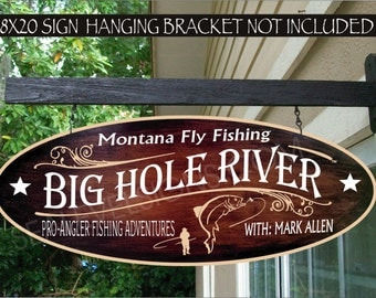 FLY FISHING Big Hole River Trout Fisherman Gift Family Name Aluminum Custom Personalized Sign
