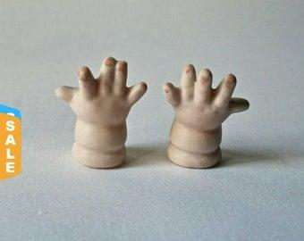 Sale -  Vintage Porcelain Baby Doll Hands for Altered Art Doll Making