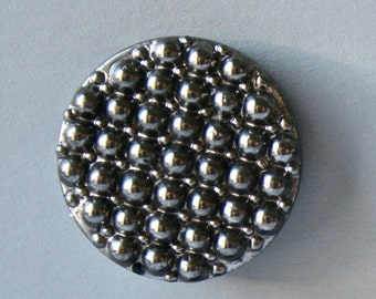 Vintage Glass Buttons in Gunmetal Silver for Sewing and Crafts