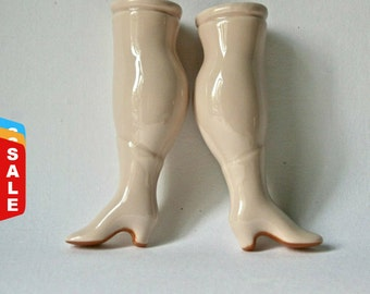 Final Markdown- Sale - One Pair of Chubby Doll Legs with Victorian Boots for Doll Making Repair Altered Art Assemblage