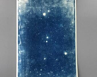 Cyanotype Large Star Field Cyanotype Signed Blueprint original art astronomy