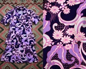 Vintage 1960s 70's Purple Handmade Two Piece Psychedelic Outfit Button Up Disco Hippie Boho Women's Size Large