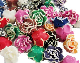 10Pcs Multi-Color Flower Beads Finding 20mm*9mm  ja661