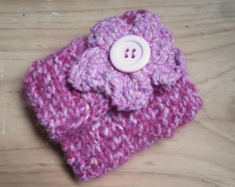 Knitted Coin Purse, Pink Change Purse Hand Knitted with Flower Decoration