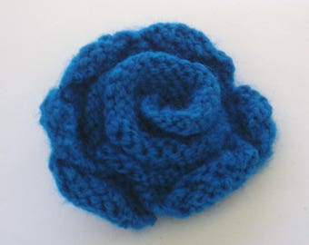 Hand Knitted Flower Brooch, Blue Knitted Brooch