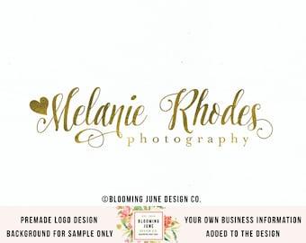 heart logo design gold foil logo premade logo photography logo photographer logo typography logo text logo handwritten logo boutique logo