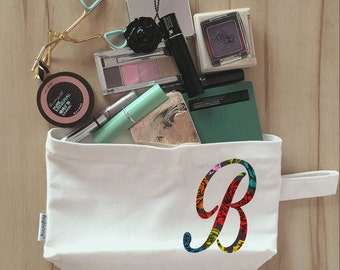 Bridal Party Makeup Bag, Clutch, Canvas, Bridesmaid Makeup Pouch, Wristlet, Customize Floral Initial