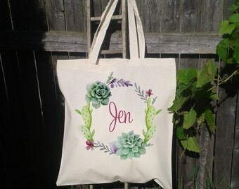 Succulent Wreath, Cactus, Wreath Wedding Welcome Tote -Bridesmaid Bag, Customized for FREE