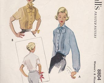 1950's Sewing Pattern, McCall's 8804 Women's Blouse Size 18 Bust 36