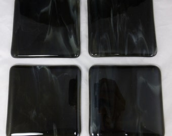 Fused Glass Coasters with Contemporary Black and White Streaky Art Glass - set of 4