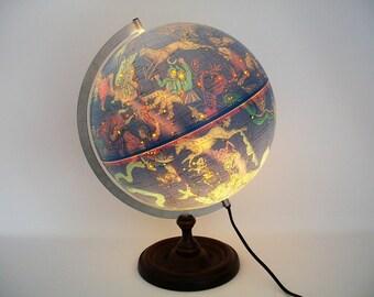 """RESERVED - Vintage 12"""" Illuminated Celestial Globe Made in Denmark - Stunning"""
