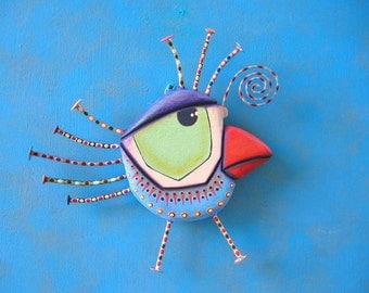 Blueberry Canary, Original Found Object Wall Sculpture, Wood Carving, Wall Decor, Bird Sculpture, by Fig Jam Studio