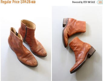 SPRING SALE vintage 1970s Levis boots - tan leather ankle boots / Levis western boots / 1970s brown leather boots - ankle western boots
