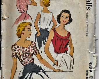 Vintage 50s McCall's 4379 Blouse/Top Back Button Scoop Neck Sewing Pattern Size 14 Bust 34 Rockabilly