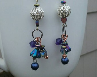 Unique dangle earrings // mixed metal gypsy jewelry // funky hippie earrings // gifts for her