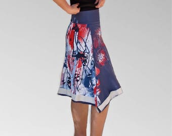Fancy skirt flora garden hand-painted jersey Fabric printed ink double print flying