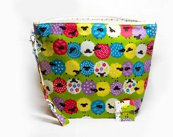 """Large Zipper Knitting Project Bag """"Bright & Colorful Sheep"""" (Wedge Style):  with detachable handle! (10"""" x 14"""" x 5"""" base)"""