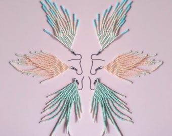 SALE 25% Long earrings,Matte mint, beige or peach bead fringe earrings,Tassels,Boho Earrings,Resort earrings,Polka dot, casual jewelry